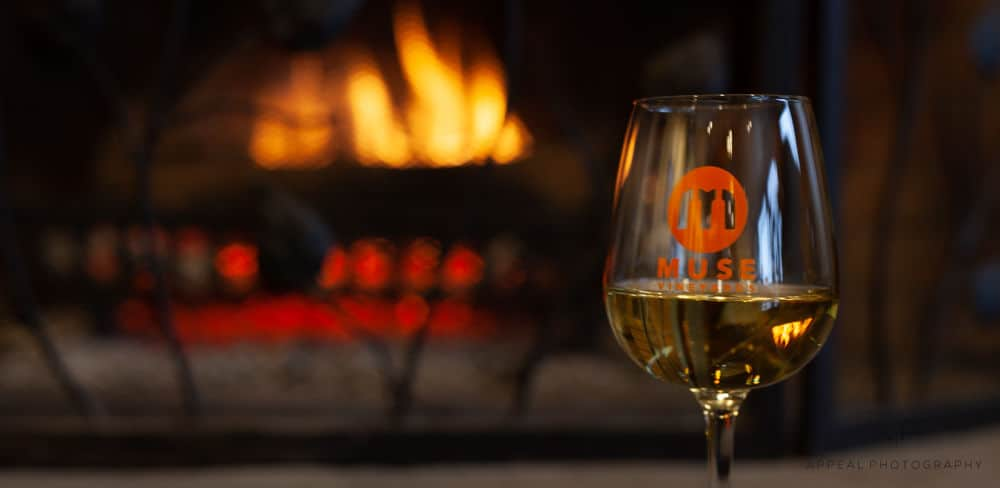 Muse Vineyards Wine Glass by the Fire