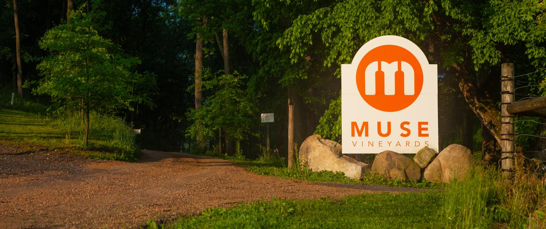 Muse Vineyards Sign Entrance